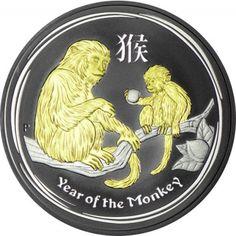 1 Dollar Silber Lunar Affe vergoldet UN