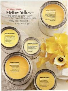38 Ideas for exterior house paint color combinations yellow kitchen cabinets Yellow Paint Colors, Interior Paint Colors, Yellow Painting, Paint Colors For Home, Yellow Walls, Yellow Kitchen Walls, Interior Design, Paint Color Palettes, Paint Color Schemes