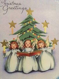 Vintage Mid Century Trio Of Angels Singing Foil Stars Christmas Card Ribbon On Christmas Tree, Christmas Mood, Diy Christmas Ornaments, Christmas Angels, Christmas Decorations, Vintage Christmas Images, Vintage Holiday, Old Fashioned Christmas, Vintage Ornaments