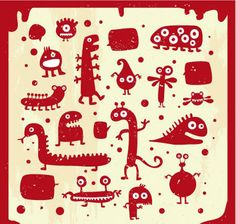 Many cute doodle monster silhouettes