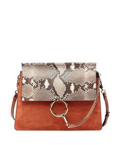 Chloe Faye Python-Pattern Leather & Suede Shoulder Bag, Brown