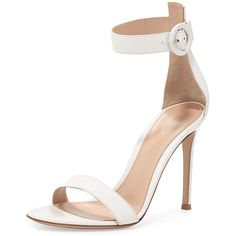 Gianvito Rossi Portofino Leather Ankle-Wrap Sandal (11.240.975 IDR) ❤ liked on Polyvore featuring shoes, sandals, off white, ankle strap shoes, leather strappy sandals, buckle sandals, ankle tie sandals and high heel sandals