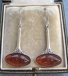 Elegant Nouveau Design Genuine Honey Amber & Silver Drop Earrings #Handmade #DropDangle
