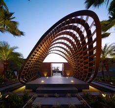 Kona Residence - Outdoor Area - An impressive sculpted wood shade structure.