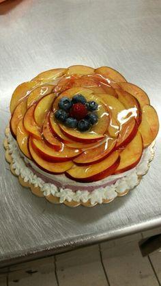 Peachcake with blueberries