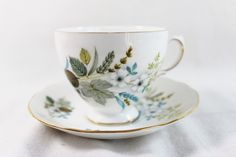Vintage Queen Anne #8425 Tea Cup & Saucer Bone China Blue Gray Brown by…