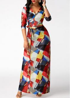 Printed V Neck High Waist Belted Maxi Dress  3d637185ff69