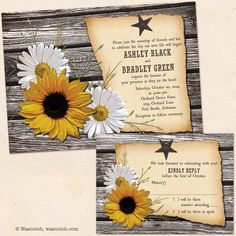 Sunflowers are a great flower choice for a rustic, country, barn or farm wedding. They also go great with white shasta daisies. We've recently added this design to our Etsy store. Rustic Country Wood Sunflower Daisy Barn Wedding Invitation and Reply Card by wasootch, Starting at $115.00. Price includes shipping and envelopes. #weddings #rusticwedding #weddinginvitations