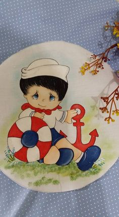 Marinheiro Painting Words, Tole Painting, Fabric Painting, Baby Cartoon, Cute Cartoon, Ladybug Rocks, Sailor Theme, Boy Pictures, Nautical Baby