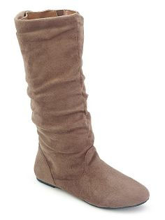 Faux Suede Rouched Flat Boot ...$24.00