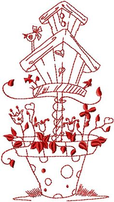 birdhouses in red art.  A lost or forgotten thing of the past that I still enjoy.