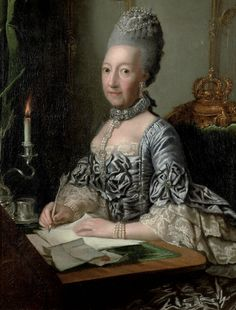 ca 1765 - Ulrike Sophie, Princess of Mecklenburg-Schwerin (1723-1813), in a silver dress with lace cuffs, seated at a writing desk by George David Matthieu