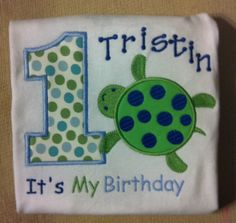 Turtle Birthday Shirt for Kids Turtle Applique by LaBarrieLittles, $28.00