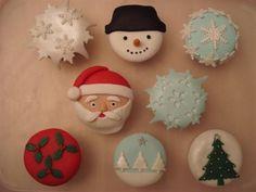 kerst cupcakes, sneeuwpop, sneeuwster, kerstboom
