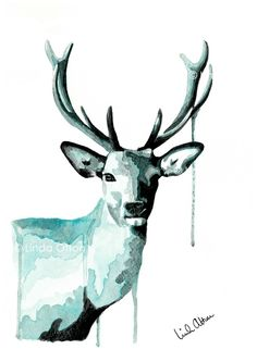 Deer - turquoise - print - A4 via Otton Art - By Linda Otton. Click on the image to see more!