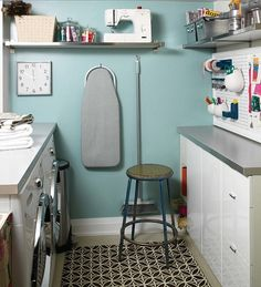 Laundry room/craft area - Blue laundry room! blue gray laundry craft room colors.