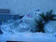 A Harley Davidson martini luge created by Ice Magic Ice Logo, Ice Magic, Ice Bars, Luge, Food Displays, Ice Sculptures, Martini, Harley Davidson, Creative