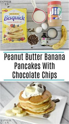 These quick and easy Peanut Butter Banana Pancakes with Chocolate Chips are the perfect treat for breakfast. They are slightly crispy on the outside but light, creamy and fluffy on the inside. Top with butter and syrup and the whole family will enjoy. Butter Pancake Recipe, Peanut Butter Pancakes, Peanut Butter Recipes, Peanut Butter Banana, Banana Chocolate Chip Pancakes, Banana Waffles, Chocolate Chips, Chocolate Chip Pancakes Recipe Bisquick, Peanut Butter