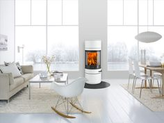 Stoves are beautiful and create a cozy home but some are more of a design piece than others! This Scan 83 comes in a range of colours including this beautiful champagne colour! Creates cozy modern living but with a surprising ultra chic twist Decor, Living Room, House, Interior, Home, Living Room Scandinavian, White Rooms, Interior Design, Fireplace