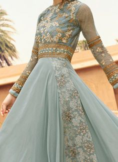 Light Grey Embroidered Floor Length Anarkali Suit