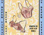 Vintage Sewing Pattern French Ladies 1950's Pinup Bra PDF Printable Multisize Depew 2001 -INSTANT DOWNLOAD-