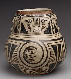 Jar with Four Faces, mid–13th–mid–15th century Casas Grandes peoples; Chihuahua Ceramic, Northern Mexico