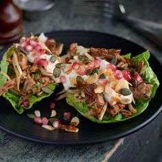 Lettuce cups filled with hand-pulled turkey and loads of other goodness