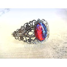 Mexican Fire Opal Dragons Breath Bracelet Victorian Style Mexican Opal... ($24) ❤ liked on Polyvore featuring jewelry, bracelets, opal bangle, gold bangles, red jewelry, blue gold jewelry and red bangles