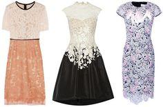 Kleid mit Spitze - langes weißes, schwarzes & blaues Design