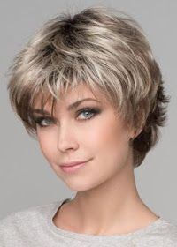 Wig Features: Monofilament Crown Club 10 by Ellen Wille is edgy, textured, and flips on the ends to create different looks. The monofilament crown is hand-tied and located where the hair naturally… Short Layered Haircuts, Cute Hairstyles For Short Hair, Bob Hairstyles, Curly Hair Styles, Natural Hair Styles, Pixie Haircuts, Layered Hairstyles, Pretty Hairstyles, Wedding Hairstyles