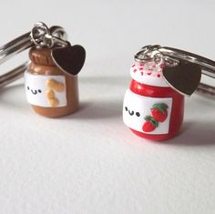 Peanut Butter and Jelly Best Friends Keychains BFF PBJ Charm Key Chain Set on Etsy, $8.00