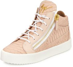 Giuseppe Zanotti Snake-Embossed High-Top Sneaker, Golia Print Rosa