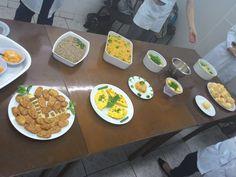 Apresentação dos pratos de todos os grupos da sala.  Doce de abóbora com coco/Banana empanada/Tabule/Omelete/Arroz integral com brócolis e cenoura/Sopa de mandioquinha com couve/Pão de queijo/ Chuchu ao molho bechamel