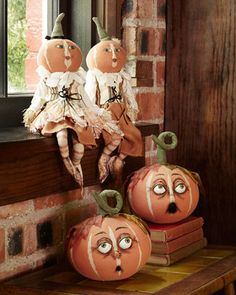 Pumpkin Patch Figures and Pumpkin Heads by Gathered Traditions by Joe Spencer at Horchow.