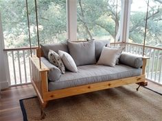 Daniel Island Hanging Porch Swing Bed This design boasts a polished, classic appeal with its arched back and wide, vertical-slat sides. Product Specifications: - Constructed of your choice of pressure-treated kiln-dried pine, cedar, or teak wood - Available unfinished, stained, or painted (solid or distressed/vintage paint options available). - Multiple sizes available (crib, twin, queen, or king size) - Constructed with galvanized hardware - Custom made in the USA just for you! - Swing bed…