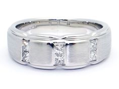 14k White Gold Men's Princess Cut .30ct Diamond 8mm Wedding Band Ring Size 10.75 by AntiqueJewelryLine on Etsy