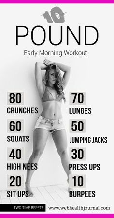 10 Pound Early Morning Workouts at Home for Women. Maybe I'll get to this level one day... http://smartfitme.com/