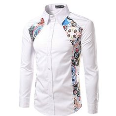 Mens Shirt,Haoricu Autumn Winter Men& Fashion Elegant Printing Long Sleeved T shirt Blouse For Work (XXL, White) African Shirts For Men, African Dresses Men, African Clothing For Men, Latest African Fashion Dresses, African Men Fashion, African Attire, African Wear, Fashion Men, Casual Wear For Men