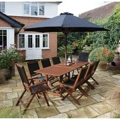 8 Seater Dining Set Wooden Steel Chairs Table Folding Parasol Reclining Armchair