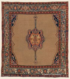 "SENNEH CAMELHAIR, 4' 5"" x 5' 0"" — 3rd Quarter, 19th Century, Northwest Persian Antique Rug - Claremont Rug Company"