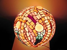 Winter pastel glass mosaic table lamp unique home decor by mooz