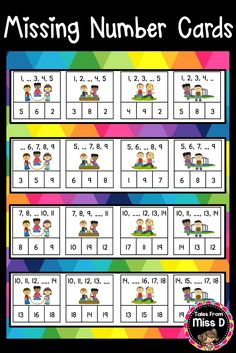 Help develop forward number word sequence with this Missing Number Clip Cards Math Station! These cards focus on the number sequence 1 to 20. There are also 16 cards that can be used as an extension for numbers to 100. See the preview for a detailed look at the cards. © Tales From Miss D