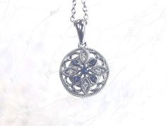 www.miadonna.com //  Antique Circle Pendant #sapphire #pendant #necklace