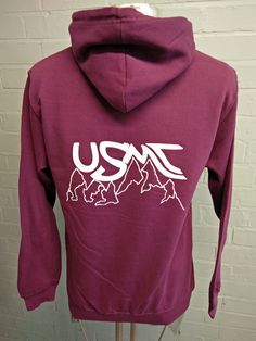 Mountaineering Club 2 Colour option Hoodies – With Embroidered club logo and name detail on the front and custom Printed design on the back. Hoodie options in burgundy or blue both with White Print.
