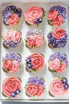 I love free reign on cakes and cupcakes and usually when I do my best work! Vanilla sponge cupcakes with edible cookie dough centers and a… Karlees Cupcakes - Milk and Water Baking co. Image may contain: food Cupcakes Lindos, Cupcakes Flores, Floral Cupcakes, Fun Cupcakes, Wedding Cupcakes, Birthday Cupcakes, Baking Cupcakes, Cupcakes Design, How To Decorate Cupcakes