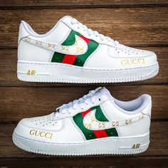 Custom Nike Air Force 1 х Gucci by customizzato Jordan Shoes Girls, Girls Shoes, Shoes Men, Woman Shoes, Shoes For Teens, Neon Shoes, Crocs Shoes, Cute Sneakers, Nike Free Shoes