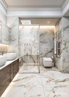 Luxury bathroom design ideas for your small house 00063 Royal Bathroom, Small Bathroom, Bathroom Marble, Minimal Bathroom, Bathroom Mirrors, Bathroom Cabinets, Bathroom Lighting, Zen Bathroom, Bathroom Showers