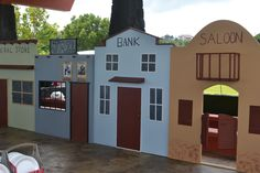 miniature Western Town  for child's birthday party ~ Saloon with swinging doors, Bank, Jailhouse with bars, and General Store. Yumiko's 5th b-day