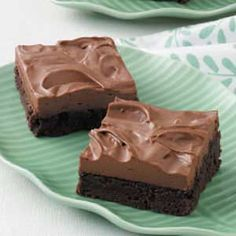 Mocha Mousse Brownies    These dark chocolate goodies are the perfect pairing of coffee-flavored mousse and fudge brownie.