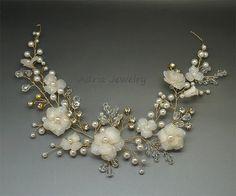 Gold Wedding Headpiece Ivory Bridal Hair Clips by adriajewelry